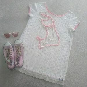 ROXY/ IVORY LACE SHIFT DRESSw/PINK TRIM